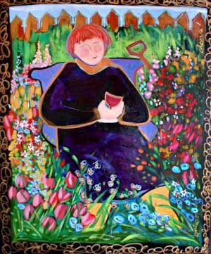 Katherine Porter - Cheers painting of woman sitting in garden with cup