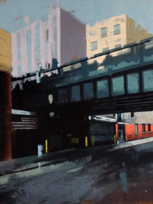 Kevin Kusiolek Contemporary Oil Painting on Board of New York Chelsea Burrow