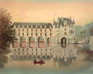 Michel Delacroix Limited Edition Lithograph of French Chateau