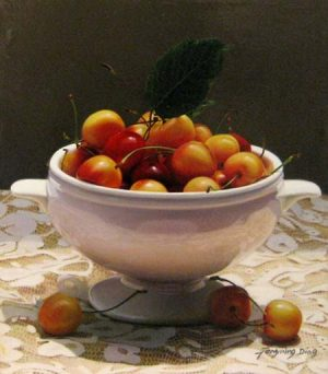 Fengming Ding - Cherries in Bowl - Realistic painting of cherries in a bowl