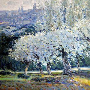 Omar Hamdi Malva - impressionism Painting of white cherry blossoms in daylight