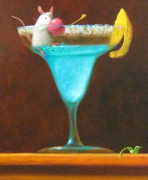 Stuart Dunkel Whimsical Oil Painting on Board of Blue Hawaii Cocktail with Cherry and Salt in Drink Glass with Mouse