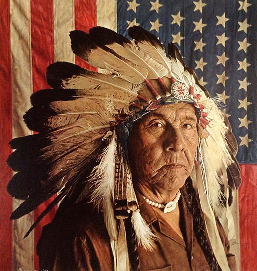 James Bama - Chester Medicine Crow with his Father's Flag print of man in feathered headdress