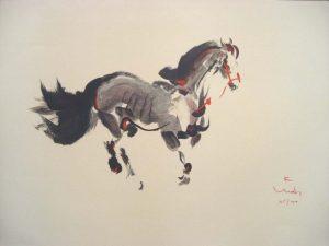 Kaiko Moti - Cheval (20x27 etching on paper)