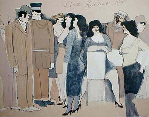 David Schneuer - Chez Madame Rose print of people gathered at restaurant