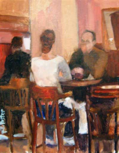Pat Foster Figurative Oil Painting of Man and Woman in Cafe Chairs Talking