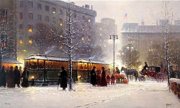 G. Harvey - Children of the City print of a city setting in winter with a trolley and people