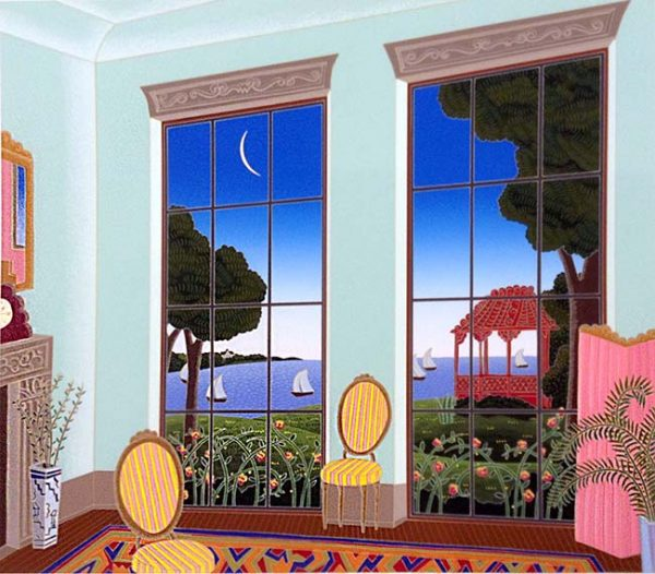 Thomas McKnight - Chinese Gazebo print of room with chairs and windows that look out to garden and ocean