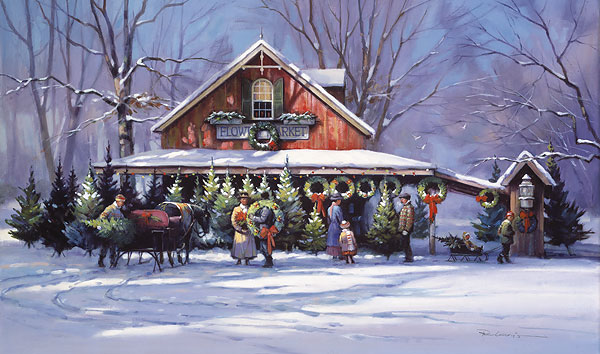 Paul Landry - Christmas at the Flower Market print of people getting Christmas trees