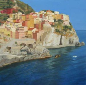 Painting of cliffs overlooking mediterranean ocean