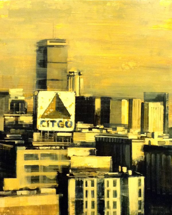 Kevin Kusiolek Contemporary Oil Painting of Boston Citgo Sign on Board