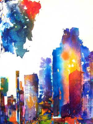 Gary Smith Abstract Watercolor on Paper of Urban City Skyline in Bright Rainbow Colors