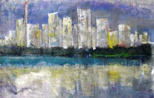 Helen Zarin Contemporary Cityscape on Canvas in Blue Green Yellow Gray on Water