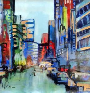 Angela Maritz Contemporary Cityscape Painting in Blue Red Green