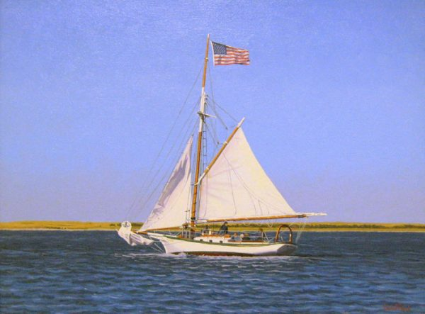 James (Jim) Wolford Oil Painting of patriotic sailboat on ocean waves with american flag