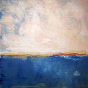 Jane E Cooper Abstract Contemporary Ocean Seascape with Twilight Sky