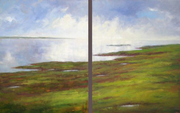 Mary Nolan Oil on Canvas Painting of Green Marsh Ocean with Blue White Clouds in Sky