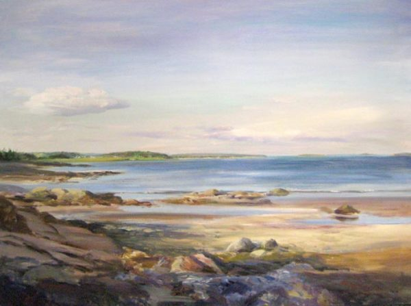 Celia Judge Traditional Oil Painting of Seascape Maine Coast with Blues and Pinks Clouds and Waves on Beach