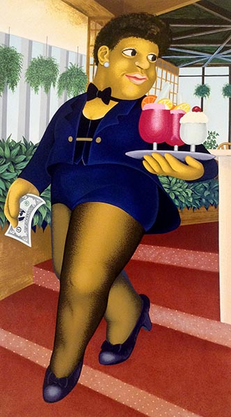 Beryl Cook - Cocktails print of waitress carrying tray of drinks