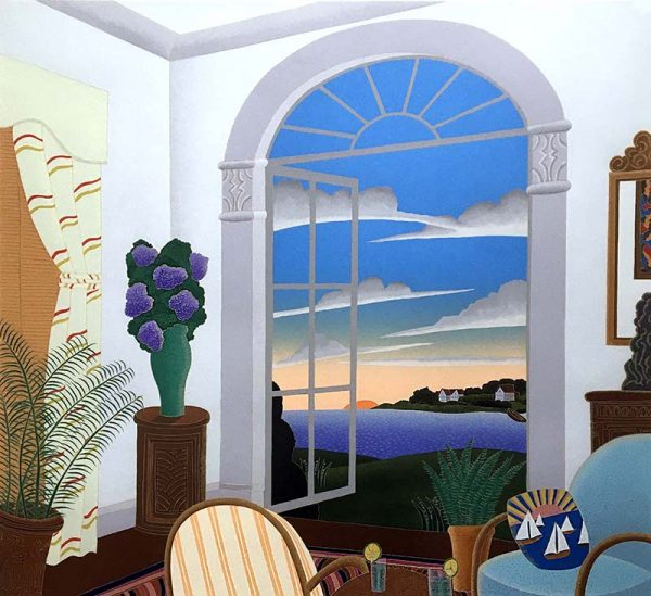 Thomas McKnight - Cocktails in Greenwich sitting room with open window looking out to water