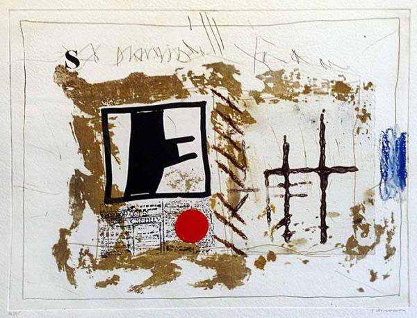 James Coignard Communication (30x40 carborundum engraving etching) abstract geometric forms