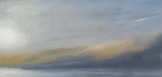 Anne Garton Painting of sun setting over foggy Cape Cod seascape