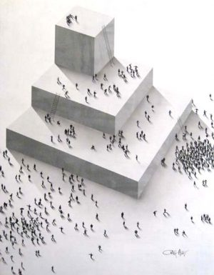 Craig Alan - Conceptual Abstract II - Painting of crowds on a multi-level structure
