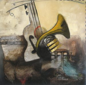 Emanuel Mattini Abstract painting of a guitar and a French horn