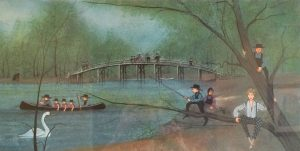 P. Buckley Moss Watercolor Painting of The Concord Bridge with children playing and swimming