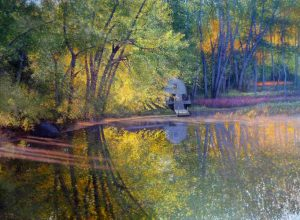 Richard Brady Concord River Boat House (36x50 oil on canvas) a photo-realistic painting of a boat house in concord with river reflections and sun beams