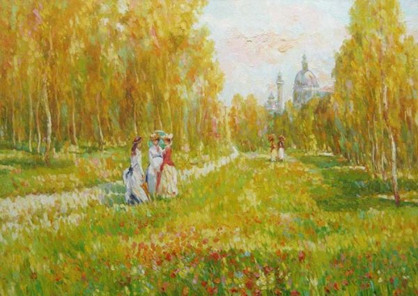 Omar Hamdi Malva - Painting of two women taking a walk in a brilliantly yellow forest