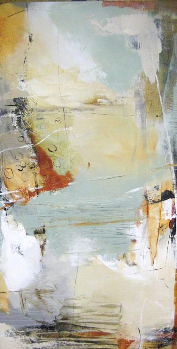 Natasha Barnes Contemporary Oil Painting Abstract in Sage and Copper White and Greens