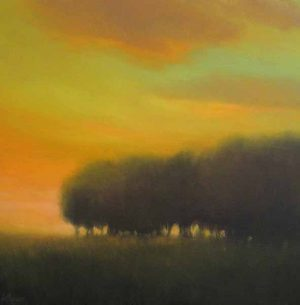 Will Klemm contemporary oil painting of trees and a yellow sky