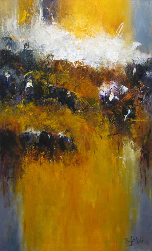 Marcelle Dube Contemporary Abstract Oil with Musical Strings and Oboe Orchestra