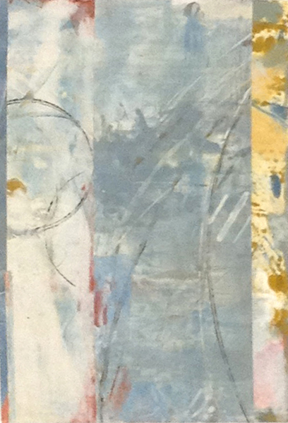Jane E Cooper Contemporary Abstract Blue Yellow Gray Small Monoprint Diptych