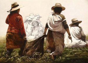 Luis Pantigozo - Cosecha watercolor painting of people during harvest