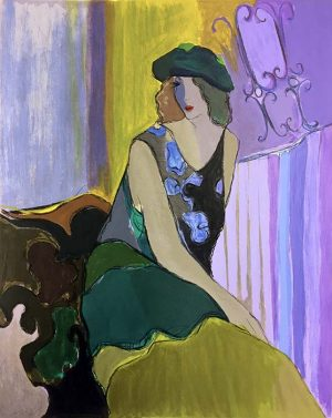 Itzchak Tarkay - Cossette print of woman with green hat sitting on chair