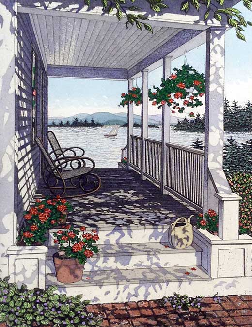 Carol Collette etching on paper of front porch of cottage house on lake water