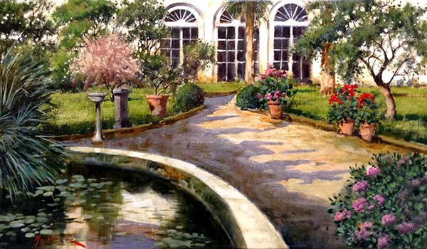 Antonio Sannino Courtyard painting of driveway leading to white house with flowers and water feature