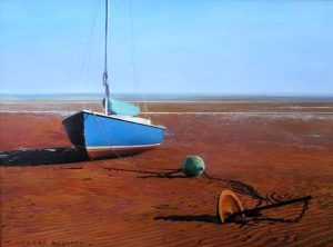 Rob Bolster Oil Painting of Blue Boat on Red Tide Beach