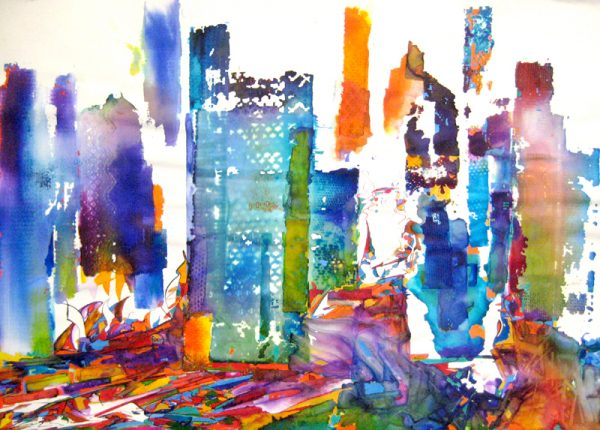 Gary Smith Colorful Abstract Watercolor on Paper of Urban Cityscape Skyline in Bright Rainbow