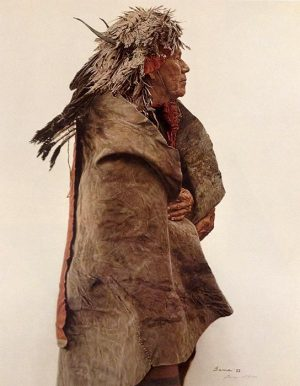 James Bama - Crow Indian Wearing 1860's War Medicine Bonnet print of man in feather headdress with horns