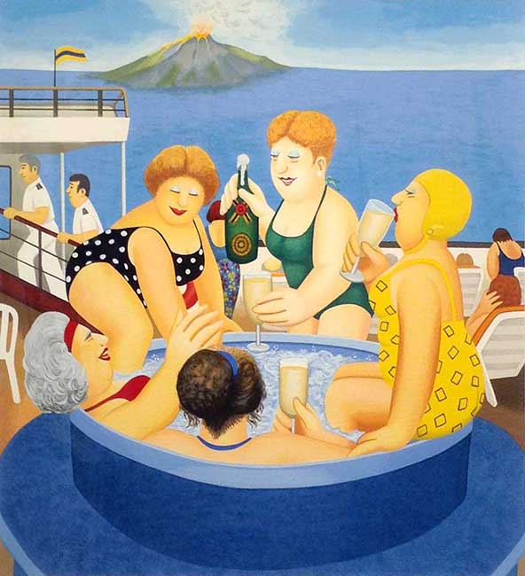Beryl Cook - Cruisin' print of women in a hot tub on a ship with a volcano and ocean