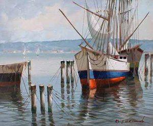 D'Alesandro Harbor Scene painting of docked sailboat