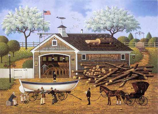 Charles Wysocki - Dahlia Dinalhaven Makes a Dory Deal print of woman buying a boat