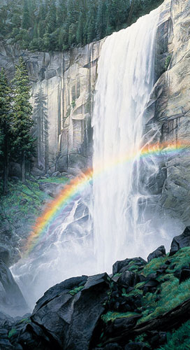 Stephen Lyman - Dance of Water and Light print of waterfall and rainbow at Vernal Falls in Yosemite National Park