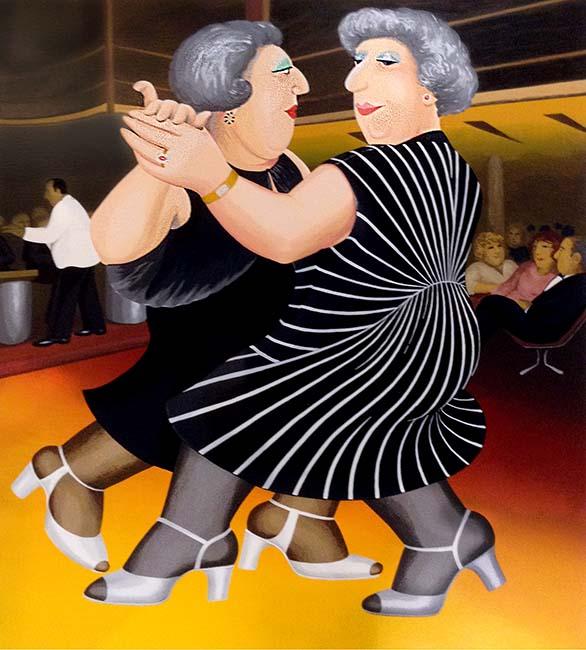 Beryl Cook - Dancing on the QE2 print of two women in black dresses ballroom dancing