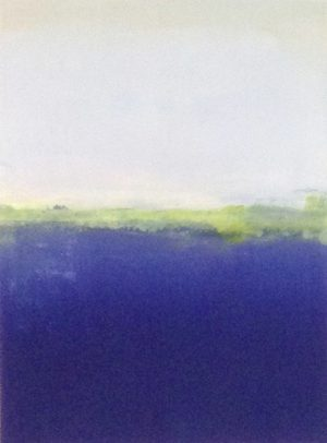 Jane E Cooper Abstract Contemporary Ocean Seascape with Royal Blue and Green
