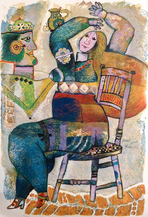 Theo Tobiasse - David et Bethsabee judaica print of woman in chair and man with crown