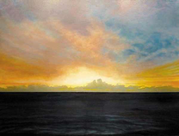 Ken Northup Oil Painting of Clouds on Ocean Horizon at Sunset with Yellow and Pink Sky